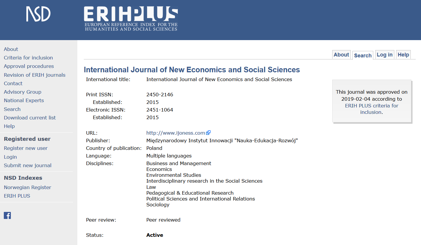 INTERNATIONAL JOURNAL OF NEW ECONOMICS AND SOCIAL SCIENCES